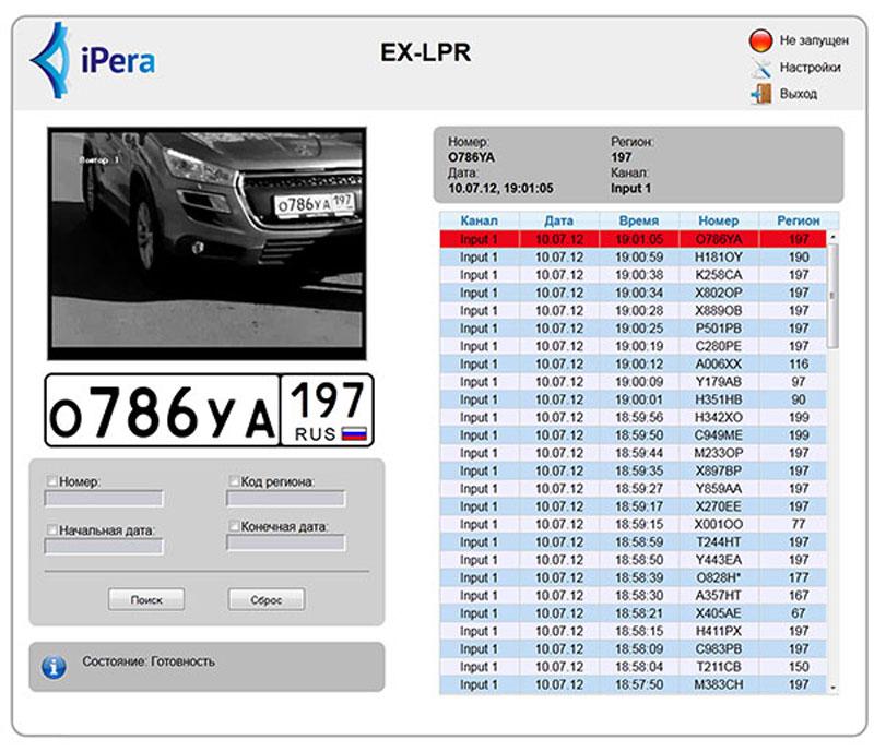 программа для идентификации номерных знаков автомобилей, созданная компанией iPera